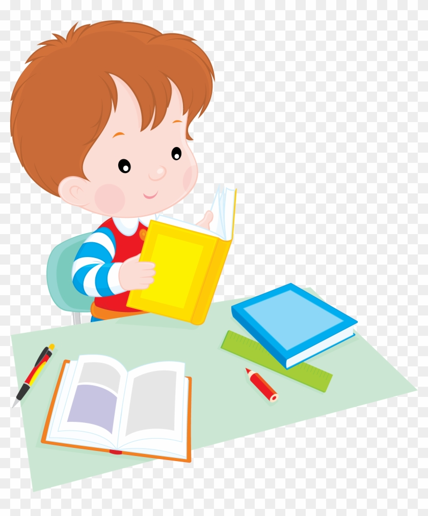 Student Reading Clip Art - Png Image School Children #223832