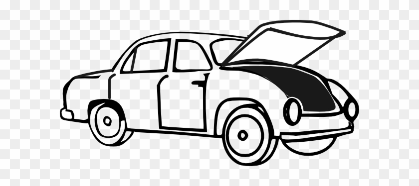Car With Open Hood Clip Art - Car Trunk Clipart #224005