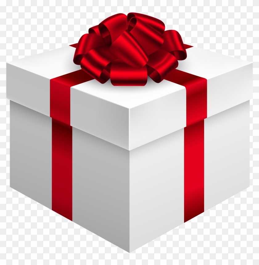 Fashionable Present Clipart White Gift Box With Red - White Gift Box Png #224217