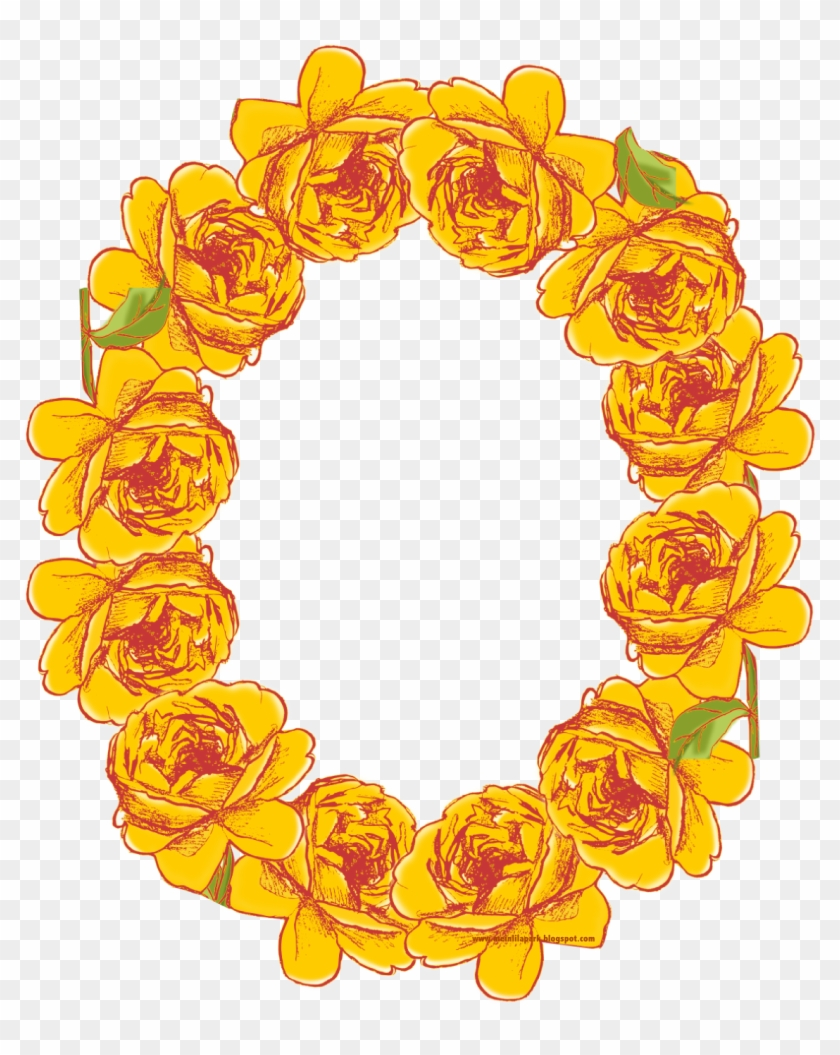 Free Digital Oval Yellow Rose Frame Png - Flower Frames Yellow Png #224260