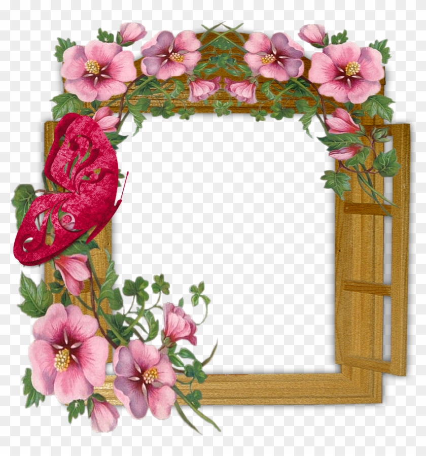 Wooden Winow With Flowers And Butterfly Transparent - Welcome To My Page Glitter #224470