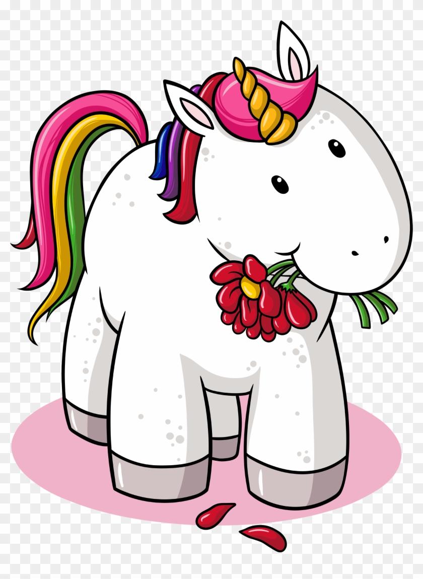 wandsticker einhorn dickes einhorn mit blumen unicorn