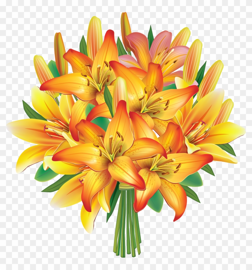 Yellow Lilies Flowers Bouquet Png - Yellow Lily Flowers Bouquet #225314