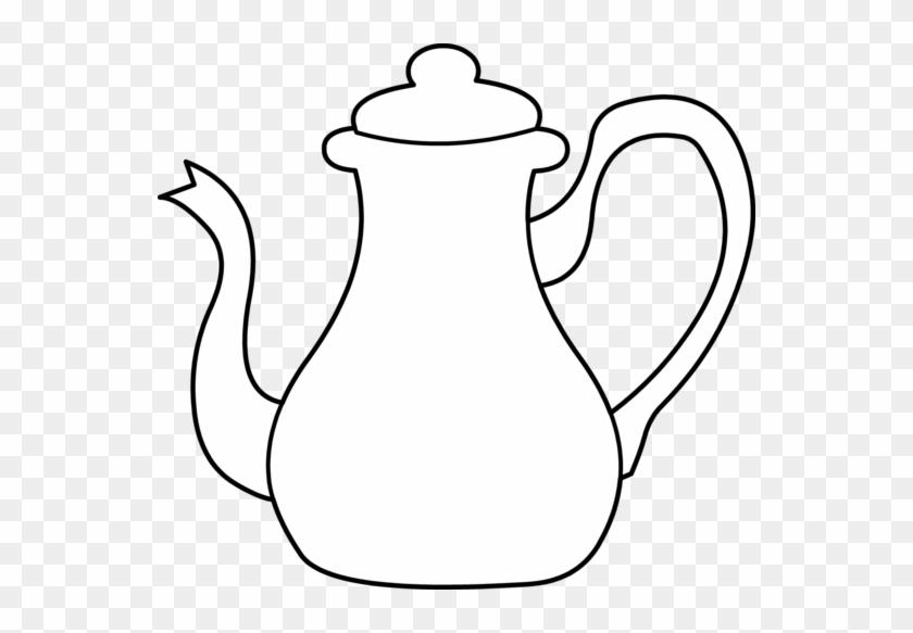 Teapot Outline Coloring Page Tea Pot Clip Art Black And White 225336