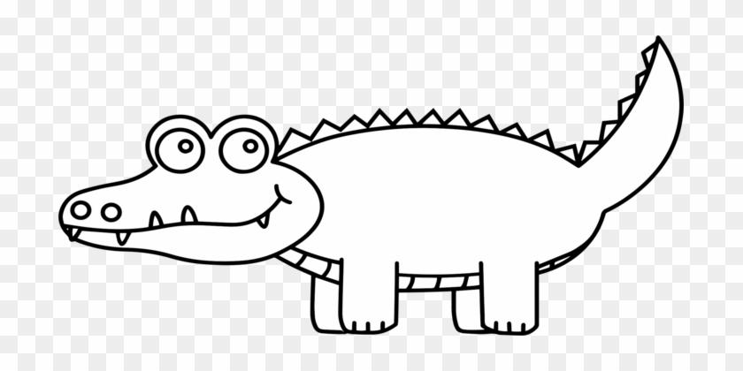 Alligators Crocodile Clip Drawing Cartoon - Black And White Alligator Clip Art #1434019