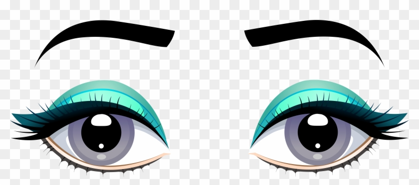 Grey Female Eyes With Eyebrows Png Clip - Blue Eyes Transparent Png #1437257