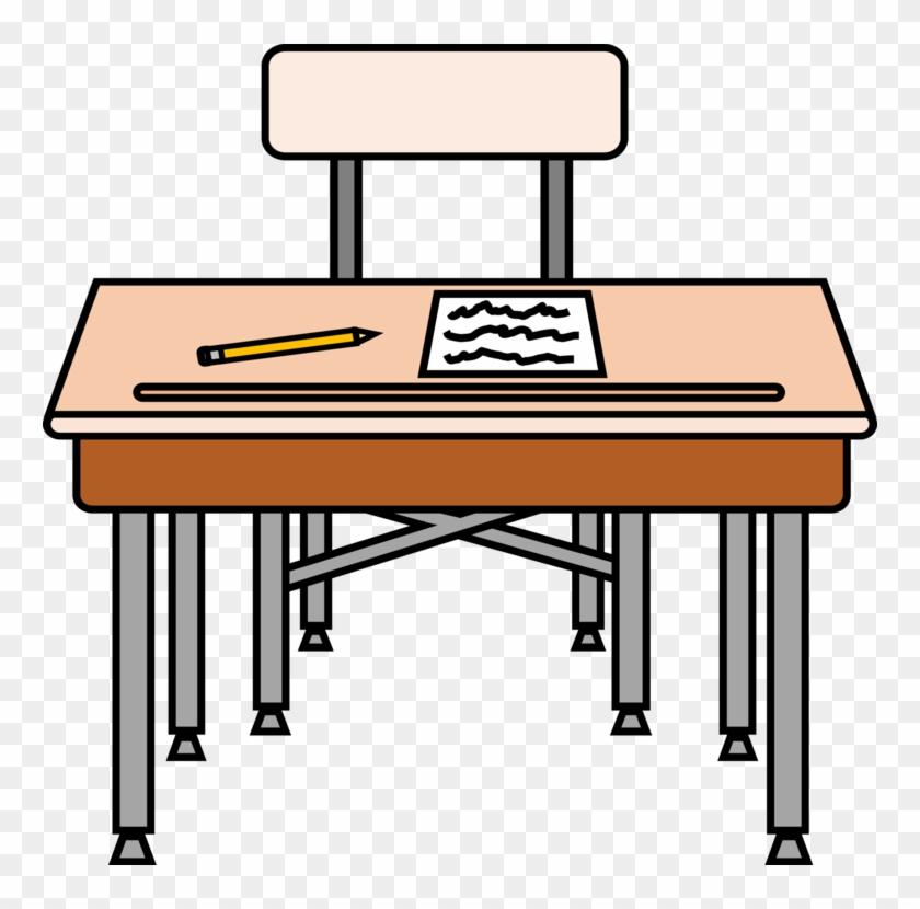 Table Desk Pencil School Drawing - Desk Clipart #1438265