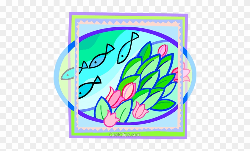 Fish Swimming Past Some Flowers Royalty Free Vector - Fish Swimming Past Some Flowers Royalty Free Vector #1439133