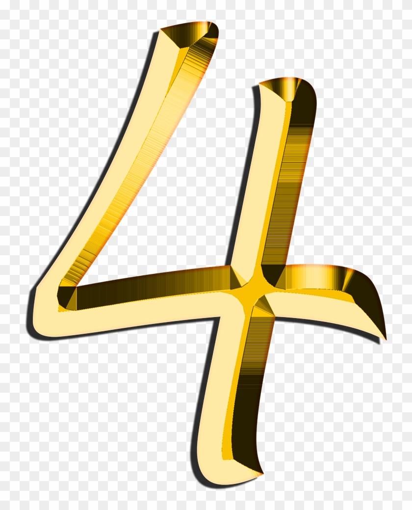 Image Art Number Transprent - Golden Number 4 Transparent #1439464