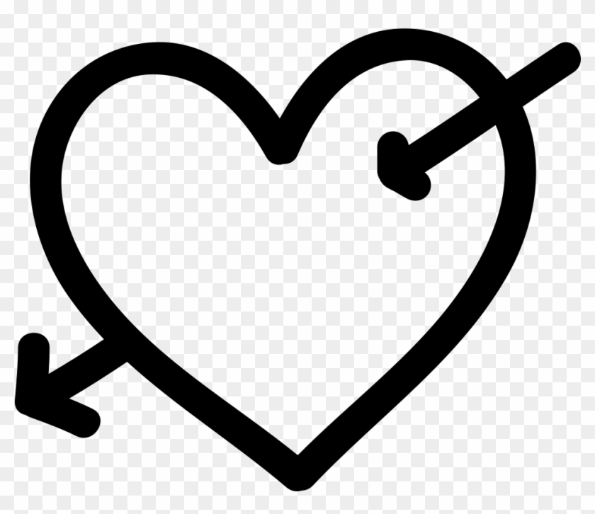 Heart With Cupid Arrow Hand Drawn Symbol Comments - Cupid Heart Icon Png #1449538