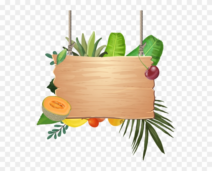 Decoration Of Tropical Fruits With Wooden Hanging, - Placa De Madeira Tropical Png #1449933