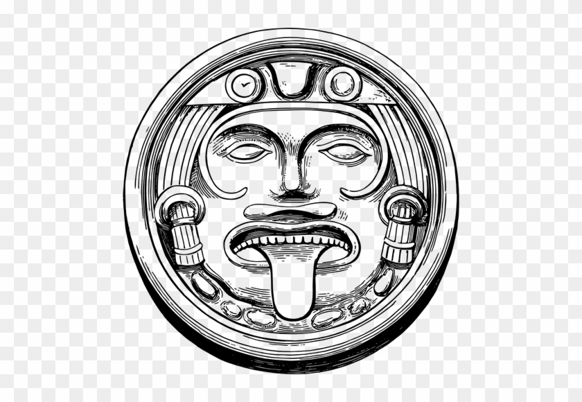 Svg Royalty Free Download Drawing At Getdrawings Com - Aztec Sun Stone Drawing #1450341