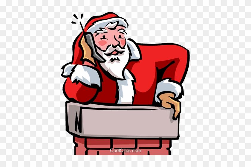 Santa Talking On Phone Royalty Free Vector Clip Art - Santa On The Phone Cartoon #1450693