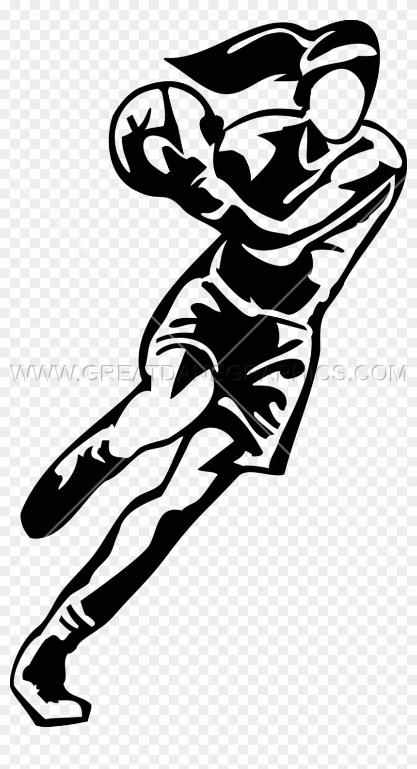 Female Basketball Player - Girls Basketball Clipart Black And White #1451003