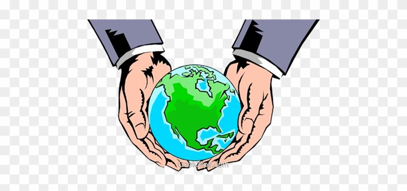 Hands Holding Globe Royalty Free Vector Clip Art