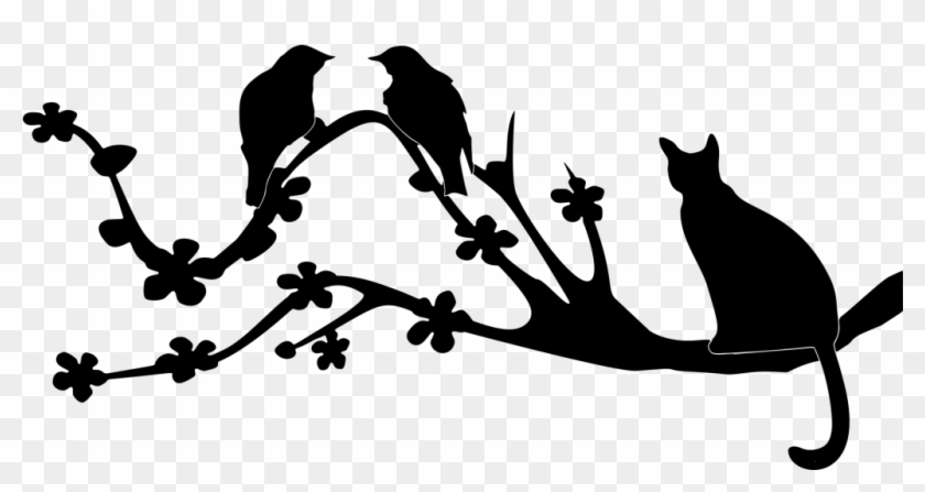 Cats And Birds Hunt Training A Free - Birds On A Branch Silhouette #1451510