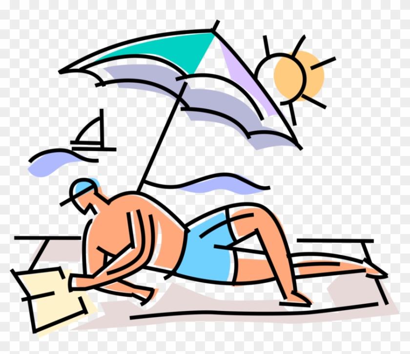 Vacation Tourist Relaxes Book - Cartoon Guy Reading A Book Beach #1456946