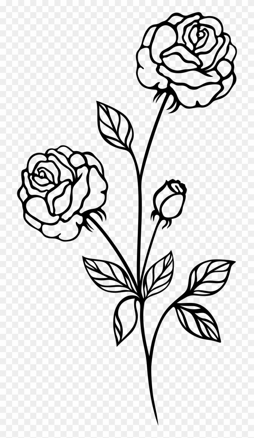 Medium Size Of How To Draw A Simple Rose Tattoo Drawing - Clip Art Black And White Rose #1457052