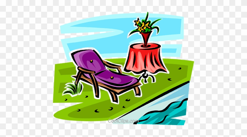 Lawn Chair Beside A Pool Royalty Free Vector Clip Art - Deck #226409