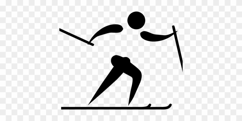 Skifahren, Ski, Sport, Logo, Piktogramm - Cross Country Skiing Olympic Logo #226449