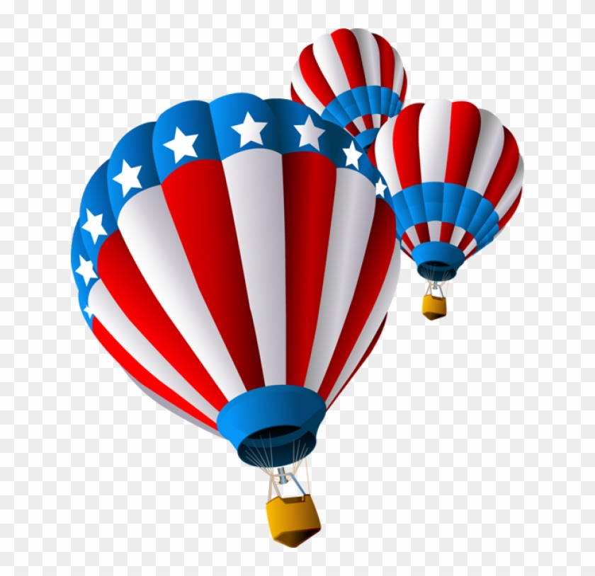 Grab This Free Clip Art And Celebrate This 4th Of July - 4th Of July Hot Air Balloons #226716
