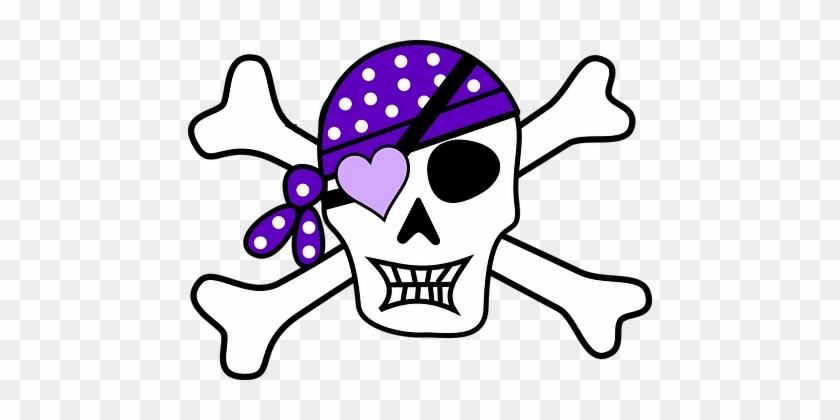 Pirat Schädel Lila Scheitelkäppchen Mädche - Girl Pirate Skull And Crossbones #227682