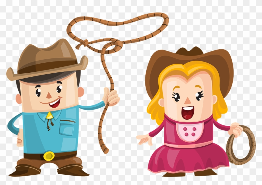 Trinkhalm Figuren - Cartoon Cowboy And Girl #228342