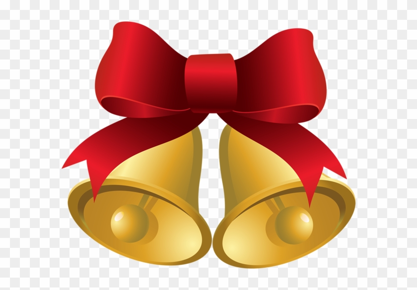 Christmas Gold Bells With Red Bow Png Clipart Image - Christmas Bells And Bows #229322