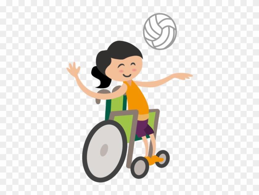 Inklumoji, Das Eine Braunhaarige Frau Im Rollstuhl - Volleyball #230325