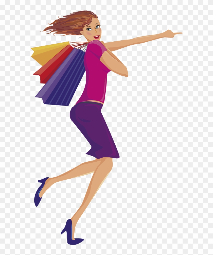 Vector Transparent Download Woman Clip Art Carrying - Go To Shopping With My Family #1465536