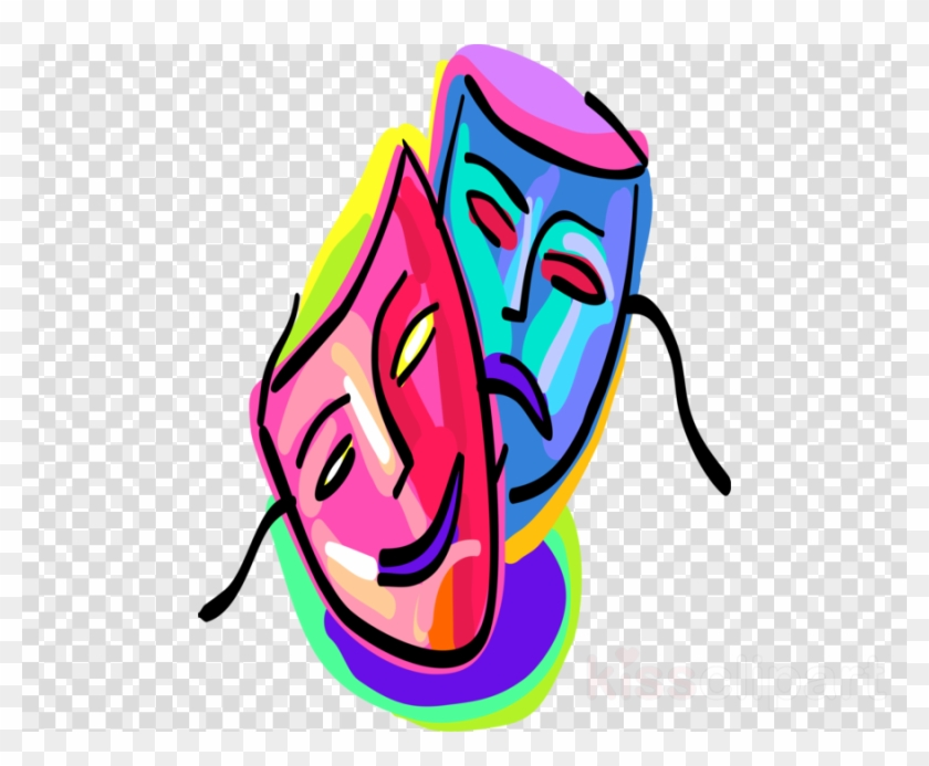 Rainbow Comedy Tragedy Masks Clipart Theatre Drama - Rainbow Comedy Tragedy Masks #1469367