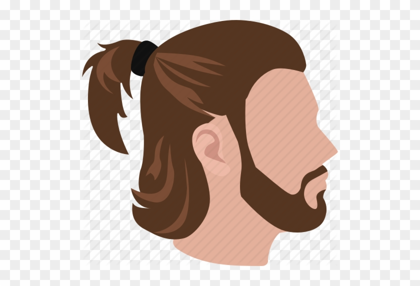 Clip Black And White Stock Male Hairstyles Color By - Mens Pony Tail Cartoon #1472004