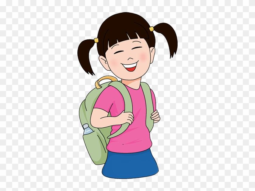 Girl With School Bag Clip Art #231053