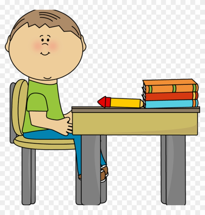 Desk Clipart School Boy At School Desk Clip Art School - Sit In Chair Clip Art #231570