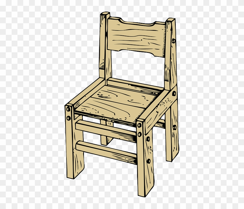 School, Small, Outline, Wooden, Table, Drawing - Wooden Chair Clipart #232290