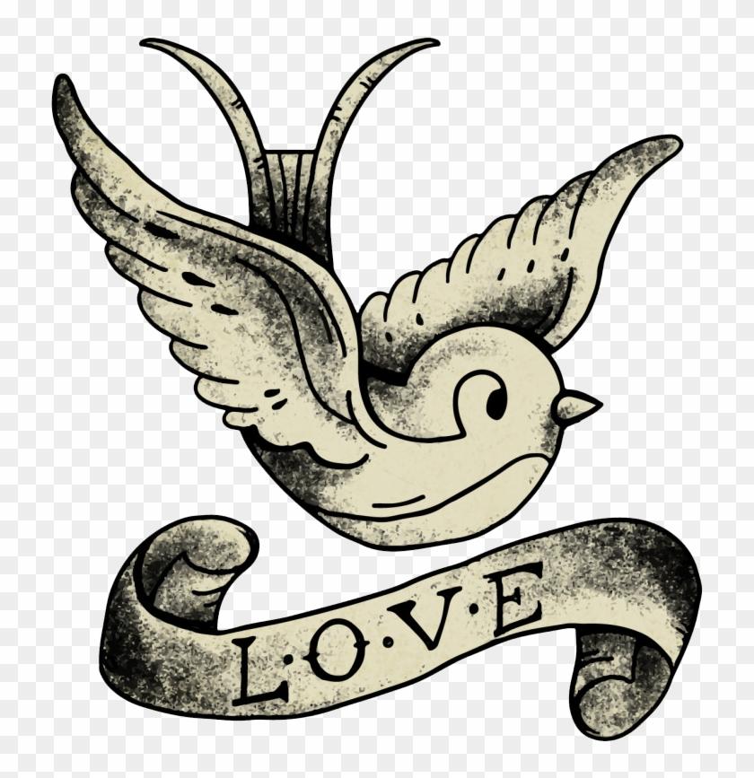 Tattoo Artist Drawing Old School Sleeve Tattoo - Old School Bird Free Tattoo #232315