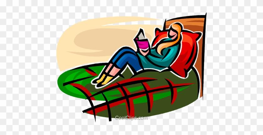Girl In Her Bedroom Reading Royalty Free Vector Clip Girl In Her