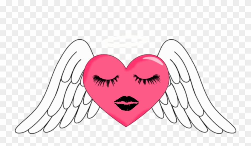 Angel Wing Pink Heart With Halo Clipart - Cute Angel Wings Clipart #233907