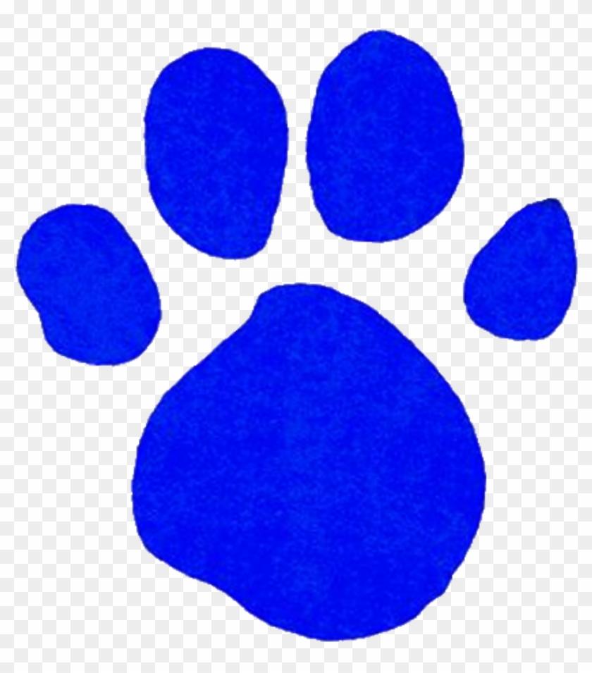 Comely Blue Paw Print Clip Art Medium Size