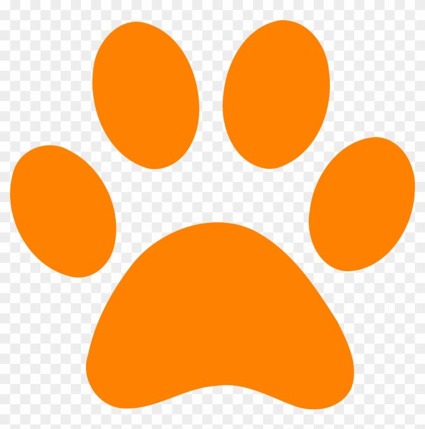 Paw Print - Orange Dog Paw Print #235810