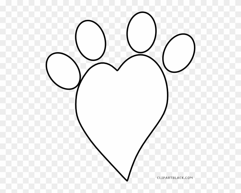 Paw Print Heart Animal Free Black White Clipart Images - Heart Paw Print Clip Art #235865