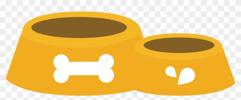 Vector Yellow Dog Food Bowl - Clipart Bone Dog Png #236454