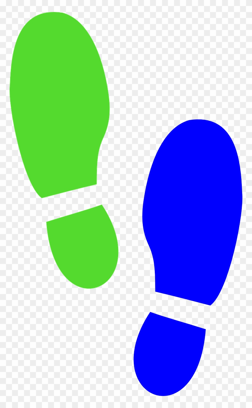 Shoe Print Blue Green Clip Art At Clipart Library - Clip Art Foot Prints #236844