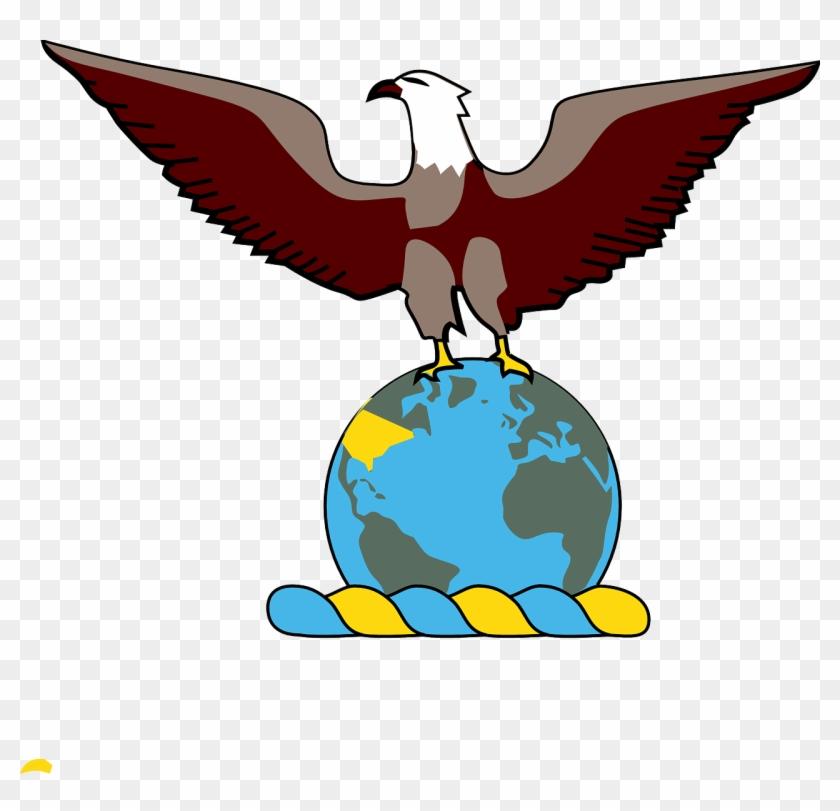 Eagle Over Globe Clip Art Free Vector - Eagle On Globe #237165
