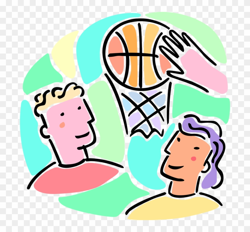 Vector Illustration Of Boys And Girls Play Basketball