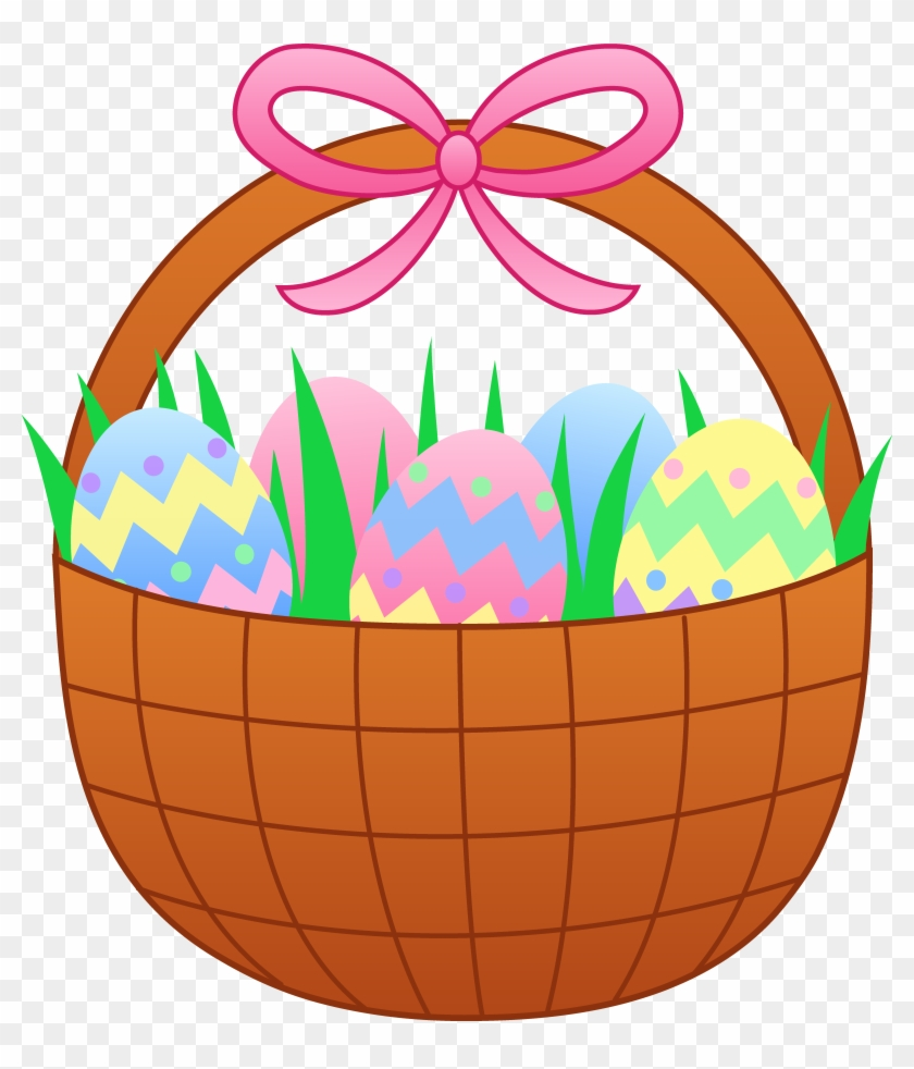 Easter Basket With Colorful Eggs - Easter Basket Of Eggs #237326