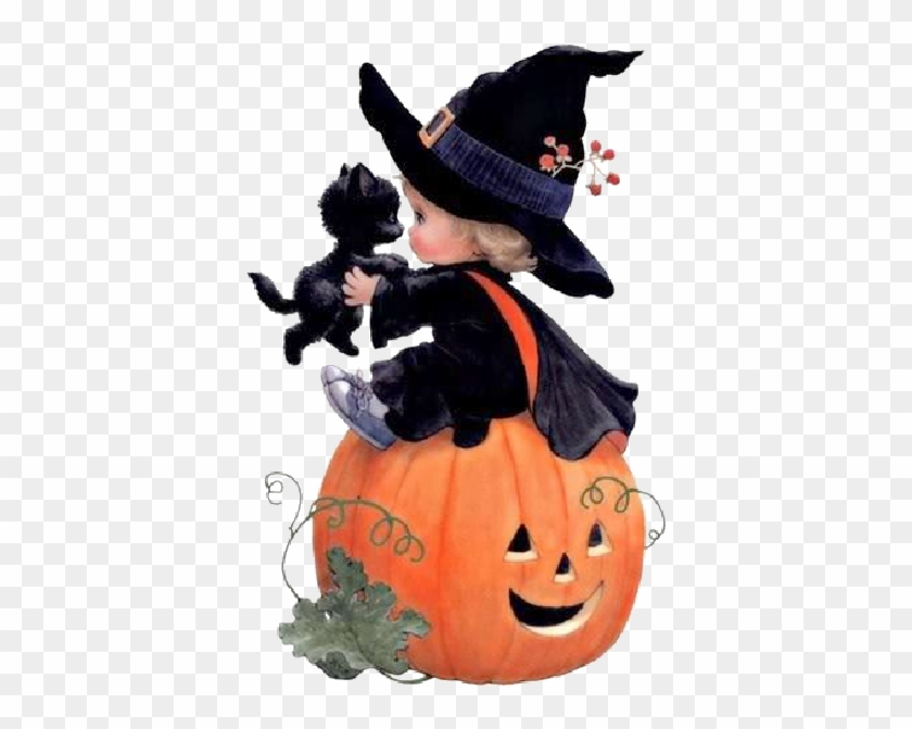 Cartoon Baby Witch With Black Cat,black Hat Witches - Cute Witch Halloween Art #238134