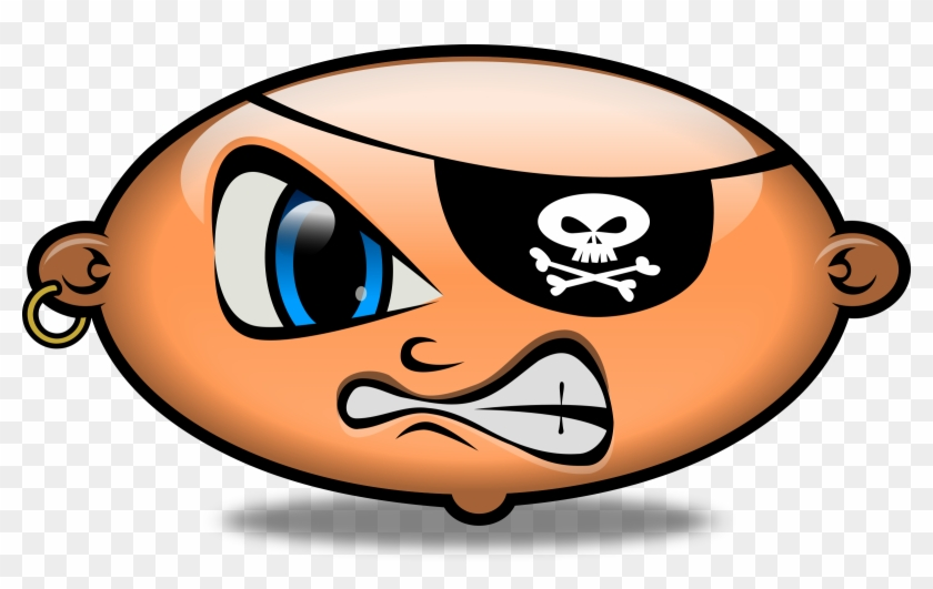 Pirate Angry Emoticon Smiley Smilies Head - Pirate Eye Patch Clipart #238196