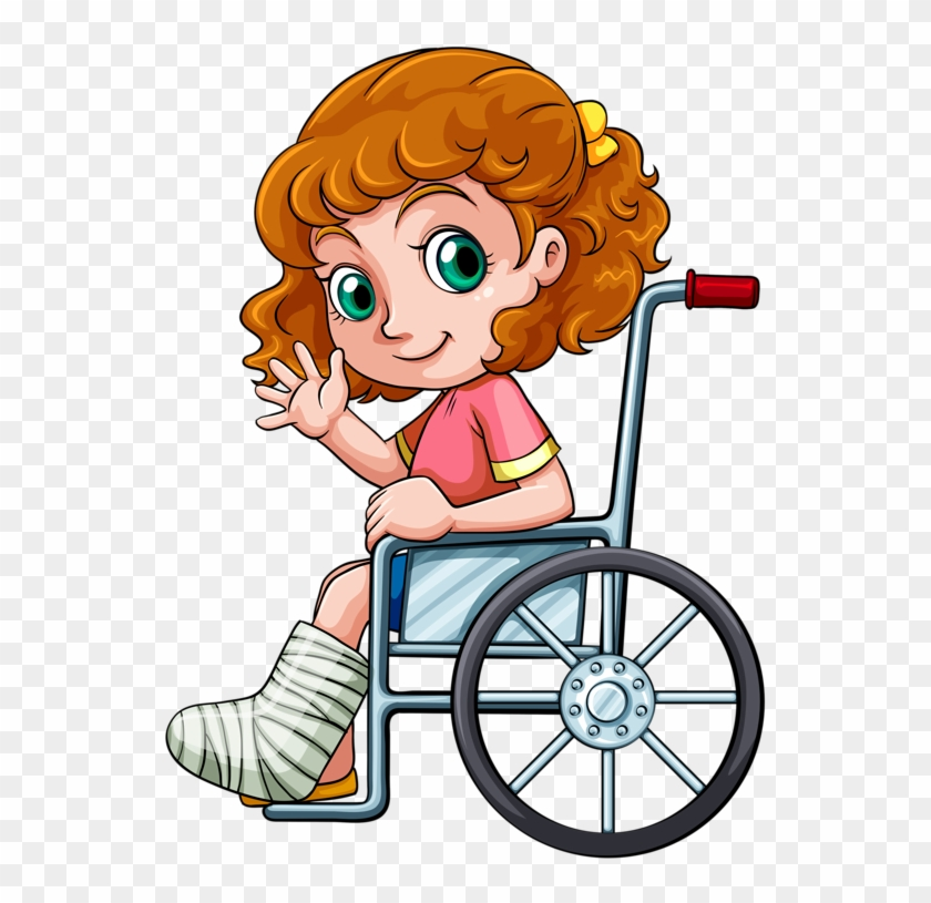Personnages, Illustration, Individu, Personne, Gens - Little Girl Drawing In Wheelchair #238330