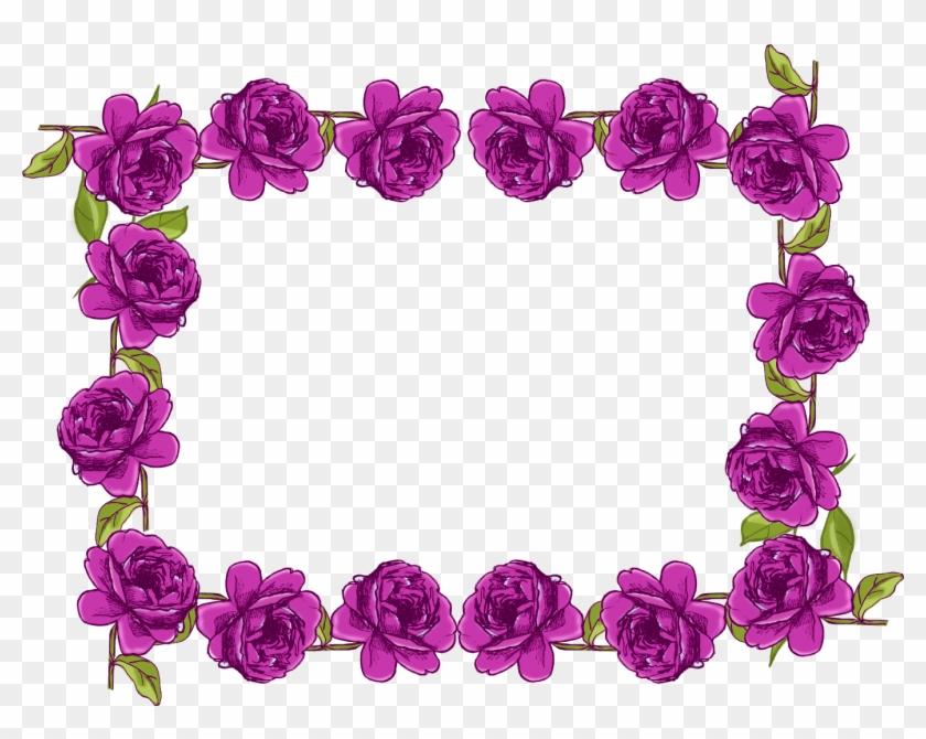 Free Digital Purple Rose Frame - Violet Flower Border Design #239168
